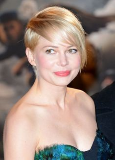 """Celebrity Haircut: Michelle Williams' Pixie-Cut Bangs We're digging this sort of do-it-yourself bangs experiment Michelle Williams road-tested by growing out her cropped pixie cut. She creates a """"sweeping fringe as the hair begins to grow out and styles it toward the side,"""" says Serafino. Prep your tresses with a straightening lotion like Pravana Relax Straightening Creme ($17.40; pravana.com) to wet hair and blow-dry hair toward the face for a cool twist."""