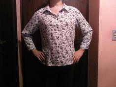 Camisa de viscose algodão manga 3/4.