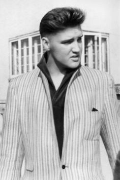 Elvis photographed by 13-year-old German fan Angelika Springauf in front of his rented house at Goethestraße 14 in Bad Nauheim, Germany on Monday, March 2, 1959. He was on his way to München (Munich) to meet 18-year-old German actress Vera Tschechowa. Angelika Springauf who was living about a 5 minute walk away from Elvis's home at the time was lucky to meet him and talk to him almost every day. She perceived him as a humble, cheerful and generous person.