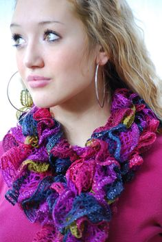 Pink Blue & Olive Green Ruffled Scarf Hand knit in by AquaLumen, $30.00