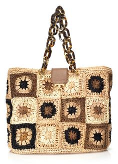 """Spotted the Tory Burch """"Fage Large Tote"""" (raffia crochet motifs, from her Resort 2013 collection)"""