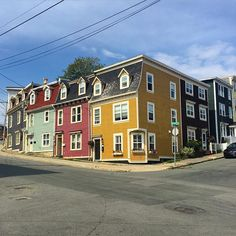 """Some of the colorful houses known as """"jelly bean houses"""" in St. John's #Newfoundland  #wwwYYT"""