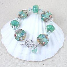 Cape Cod Ocean Waves Bracelet Lampwork Glass by ArtfulHandJewelry, $130.00