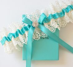 TIFFANY Blue Wedding Garter  - The ALLIE Garter, via Etsy.