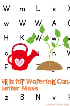 Work on learning and reviewing letter W with this cute W is for Watering Can Letter Maze! Fun for anyone who's learning letters, from toddler to kindergartener.
