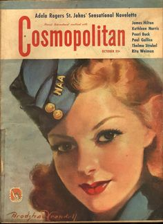 Cosmopolitan magazine, OCTOBER 1942 Model: Susan Hayward, actress Artist: Bradshaw Crandell
