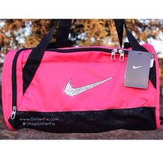 Customized Nike X Small Duffel Bag In Pink With Swarovski Rhinestonesships 2 3