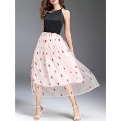 SheIn(sheinside) Stars Heart Embroidered Gauze A-Line Dress ($63) ❤ liked on Polyvore featuring dresses, black, long sleeve dress, a line summer dress, summer dresses, summer maxi dresses and long pink dress