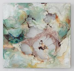 """Stirring ; machine embroidery, canvas, fabric, vintage lace and mixed media on cut wood panel ; 24"""" X 24"""" #art #deeannrieves www.deeannrieves.com"""