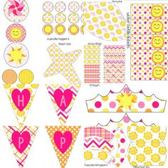 Girls Pink Yellow You Are My Sunshine Birthday Party Decorations Pack Digital DIY Printables