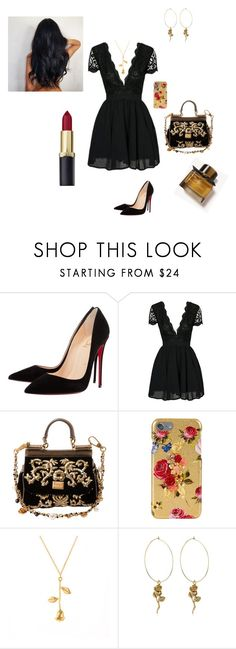 """""""little black dress"""" by rubyvonkisses ❤ liked on Polyvore featuring Christian Louboutin, Dolce&Gabbana and Burberry"""