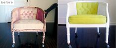 flea market flips before and afters | 28 Before-After Reupholstered Chairs