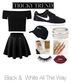 """Black & White. All The Way<3"" by priscillacanales ❤ liked on Polyvore featuring NIKE, Alice + Olivia, Charlotte Russe, Lime Crime, Manic Panic NYC, TrickyTrend and culottes"