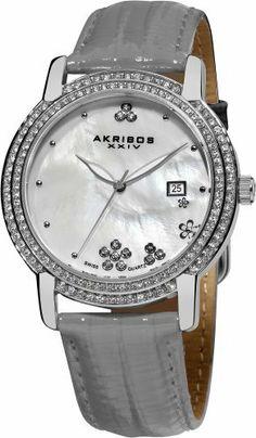 Akribos XXIV Women's AK555GY Swiss Quartz Crystal Mother-Of-Pearl Strap Watch Akribos XXIV, http://www.amazon.com/dp/B00AJD5B9S/ref=cm_sw_r_pi_dp_opHrrb1BBQ3ZN