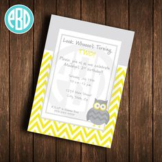 Items similar to Baby Boy Shower Invitation Owl - Owls Invitation - Owl & Stitches - Twins, Boy, Neutral, Pattern (digital diy printable) on Etsy