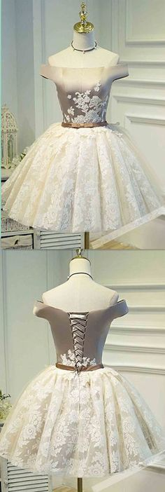 Lace Homecoming Dresses, Ivory A-line/Princess Homecoming Dresses, Short Ivory Homecoming Dresses, Cute Homecoming Dress Off-the-shoulder Lace Ivory Short Prom Dress Party Dress Pretty Homecoming Dresses, Prom Dresses 2018, Dresses Short, Prom Party Dresses, Ball Dresses, Ball Gowns, Sexy Dresses, Dress Party, Wedding Dresses