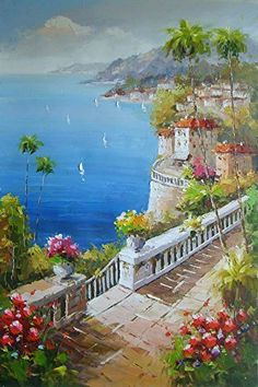 Coconut trees and sailing boat-Oil painting-Hand painted original Mediterranean scenery painting-Artwork for Home Decor-Order scenery paintings on canvas-Custom original painting-Me24-20