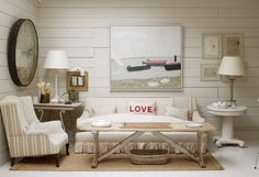 Love decor love lips room decor white decorating before and after Small Living, Home And Living, Cozy Living, Painted Paneling Walls, Paneled Walls, Plank Walls, Estilo Cottage, Shabby Chic Accessories, White Interior Design