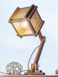 Burlap Table Lamp Wooden torchere Folding wooden lamp Wood Source by Wooden Table Lamps, Rustic Lamps, Wood Lamps, Lamp Table, Burlap Lampshade, Lamp Socket, Lamp Shades, Light Fixtures, Lights