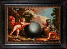 Entourage de Luca GIORDANO Le Cupidon et le Fou Huile sur toile 79 X 106