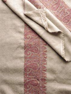 Kashmir Tafta Pashmina Hand Spun Woven Fine Wide Paisley Border Embroidery Shawl by Aditi