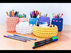 Como hacer una cesta de trapillo a crochet desde cero. - YouTube