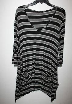 a97c530487 Cha Cha Vente Black and Silver Shark Bite Hem Tunic Top Womens Size New