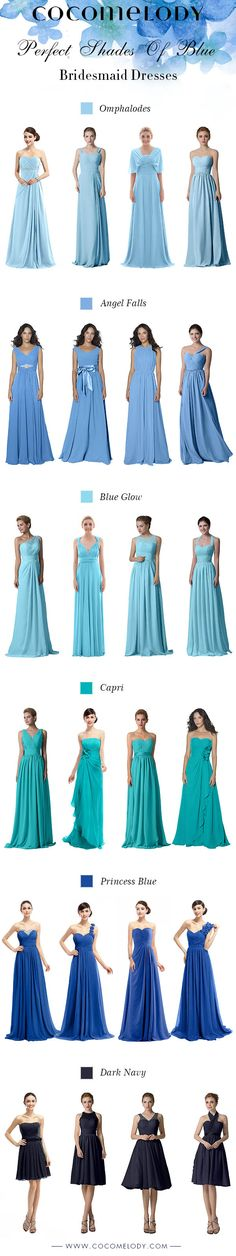 Perfect Shades Of Blue Bridesmaid Dresses! All Sizes And More Styles To Choose! #bridesmaids #brideamaiddresses #cocomelody  #customdresses #bluedresses