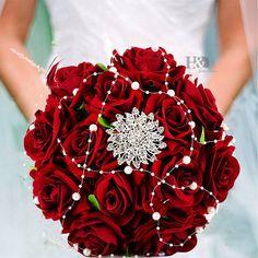 Handmade Bridal Flower Wedding Bouquet Crystal Pearls Silk Satin Brooch Rose | eBay