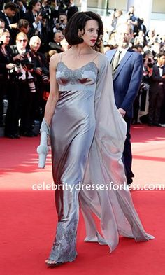 Asia Argento Silver Celebrity Style Dress Under 200 At  2013 Cannes Film Festival Formal Dress.prom dresses,formal dresses,ball gown,homecoming dresses,party dress,evening dresses,sequin dresses,cocktail dresses,graduation dresses,formal gowns,prom gown,evening gown
