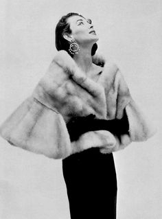 Dorian Leigh in Argenta EMBA short mink cape by Maurice Kotler, photo by Guy Arsac, 1956