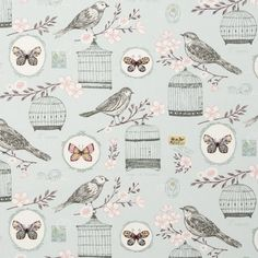 A pretty Clarke and Clarke Melodie fabric available in two colours. This lovely bird themed vintage style fabric is perfect for children's curtains. Childrens Curtains, Contemporary Fabric, Bird Design, Home Decor Fabric, Curtain Fabric, Blue Fabric, Fabric Weights, Pink Flowers, Fabric Design