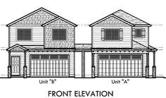 D-554-a Duplex house plans, corner lot duplex house plans, corner lot house plans, D-554-a