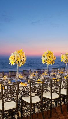 Oceanfront #wedding reception at sunset