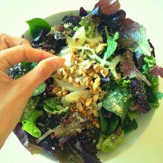 Spring leafy greens w/ walnuts & onions   andreabalt.com