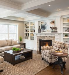 A great page packed with design tips for decorating your home! Living room with gray walls, white built-ins, stacked stone fireplace, neutral furniture Grey Walls Living Room, Coastal Living Rooms, Living Room With Fireplace, Living Room Paint, Living Room Colors, New Living Room, Living Room Designs, Living Room Decor, Gray Walls