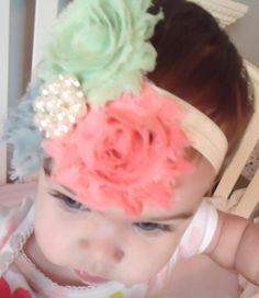 shabby chic flower baby headband, $8.50 - I needed this when my girls were little!  Too cute!