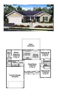 Ranch Style COOL House Plan ID: Total Living Area: 1200 sq., 3 bedrooms and 2 bathrooms. House Plans One Story, Ranch House Plans, Best House Plans, Dream House Plans, Small House Plans, House Floor Plans, 1200 Sq Ft House, House Plans 3 Bedroom, Living Room Ideas