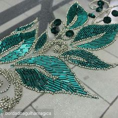 Photo only - beaded leaves in teal & silver Tambour Beading, Tambour Embroidery, Bead Embroidery Patterns, Hand Work Embroidery, Couture Embroidery, Bead Embroidery Jewelry, Embroidery Fashion, Hand Embroidery Designs, Ribbon Embroidery