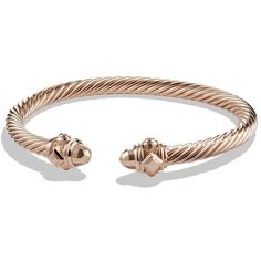 David Yurman Renaissance Bracelet in 18K Rose Gold (57,880 MXN) ❤ liked on Polyvore featuring jewelry, bracelets, accessories, jewels, apparel & accessories, rose gold, wide bracelet, 18k bracelet, rose gold jewelry i rose gold bangle