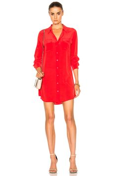 Image 1 of Equipment Slim Signature Dress in French Red