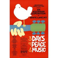 Decorate your home or office with high quality posters. Woodstock (3 Days of Peace & Music, Red) Music Poster Print - 24x36 is that perfect piece ...