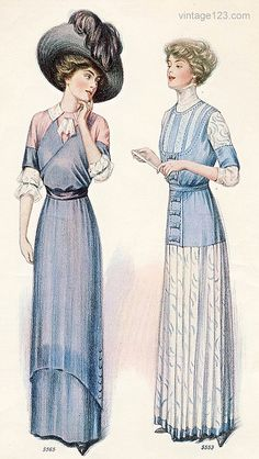 1910 fashion - I really like the skirt style at left.