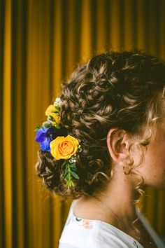 Photography: Carolyn Scott Photography Hair and Makeup: Wedding Hair by Liz Venue: The Museum of Life + Science Event Planning: Events by Memory Lane  #weddinghair #updo #flowers #curly #boho