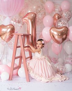 Details about Pink & Rose Pink Confetti Balloons-Party Decorations, Party Supplies - Pink Birthday Cake Ideen 1st Birthday Girl Decorations, 1st Birthday Party For Girls, 1st Birthday Pictures, Girl Birthday Themes, 1st Birthday Party Ideas For Girls, 1st Birthday Balloons, Minnie Birthday, Birthday Quotes, 1st Birthday Girl Dress