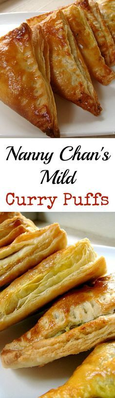 Nanny Chan's Mild Curry Puffs Easy recipe and great for snacks, parties, and get togethers. Great for making ahead and freezing!