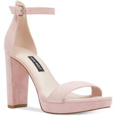 Nine West Dempsey Platform Sandals ($89) ❤ liked on Polyvore featuring shoes, sandals, pastel pink suede, pink platform sandals, nine west, pink suede shoes, suede platform sandals and pastel shoes
