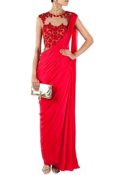 Red embroidered sari-gown by Sonaakshi Raaj