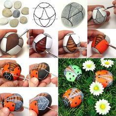 Paint Rocks to Craft These Awesome Flying Ladybugs