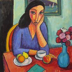 Mujer con jarrón azul, 2014 Gouache sobre papel, 25x25 cm Guillermo Martí Ceballos